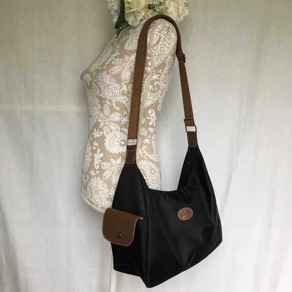 1a04f49a56 Longchamp Handbags - Longchamp // Black Le Pliage Sling Hobo Bag